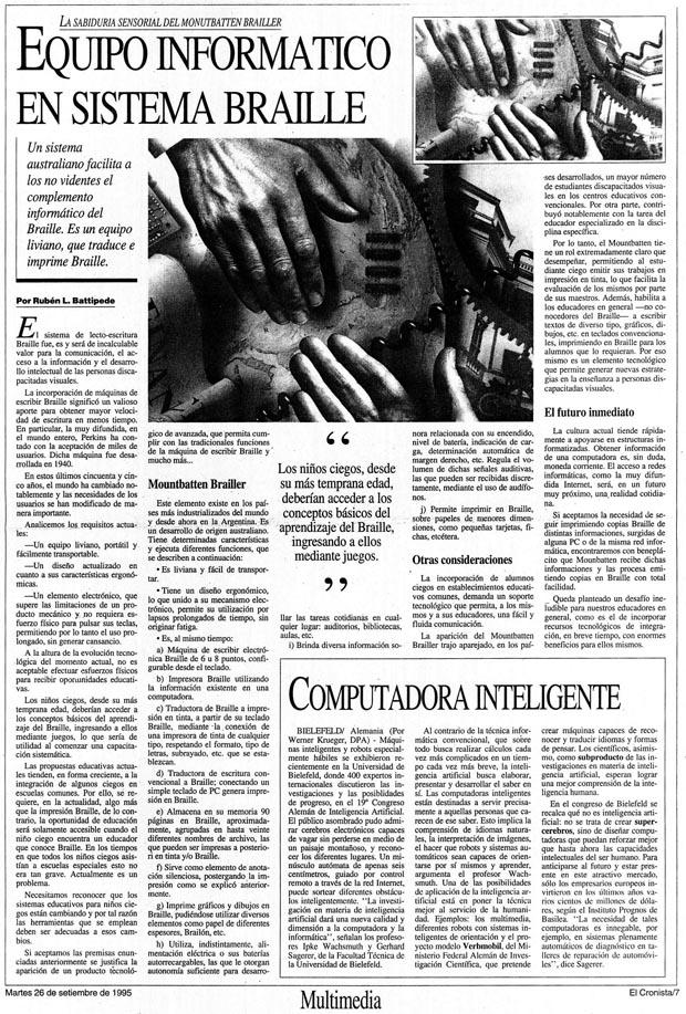 Note de Prensa El Cronista Septiembre 1995